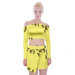 Banner Polkadot Yellow Grey Spot Off Shoulder Top With Skirt Set