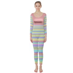 All Ratios Color Rainbow Pink Yellow Blue Green Long Sleeve Catsuit