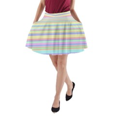 All Ratios Color Rainbow Pink Yellow Blue Green A-Line Pocket Skirt