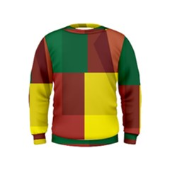 Albers Out Plaid Green Pink Yellow Red Line Kids  Sweatshirt