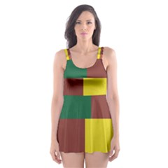 Albers Out Plaid Green Pink Yellow Red Line Skater Dress Swimsuit