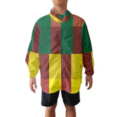 Albers Out Plaid Green Pink Yellow Red Line Wind Breaker (Kids)