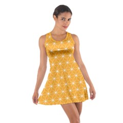 Yellow Stars Iso Line White Cotton Racerback Dress