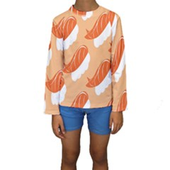 Fish Eat Japanese Sushi Kids  Long Sleeve Swimwear