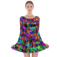 Flowersfloral Star Rainbow Long Sleeve Skater Dress