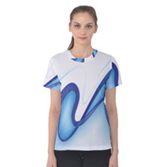 Glittering Abstract Lines Blue Wave Chefron Women s Cotton Tee