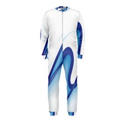 Glittering Abstract Lines Blue Wave Chefron OnePiece Jumpsuit (Kids)