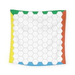 Hex Grid Plaid Green Yellow Blue Orange White Square Tapestry (small)