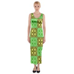 Clipart Aztec Green Yellow Fitted Maxi Dress