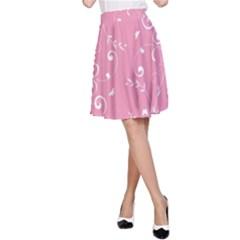 Floral Design A Line Skirt