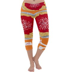 Instant Noodles Mie Sauce Tomato Red Orange Knife Fox Food Pasta Capri Yoga Leggings