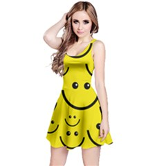 Linus Smileys Face Cute Yellow Reversible Sleeveless Dress