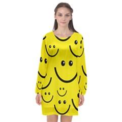 Linus Smileys Face Cute Yellow Long Sleeve Chiffon Shift Dress