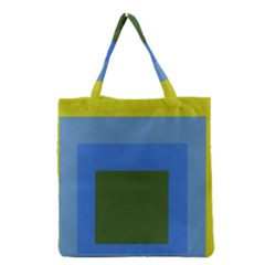 Plaid Green Blue Yellow Grocery Tote Bag