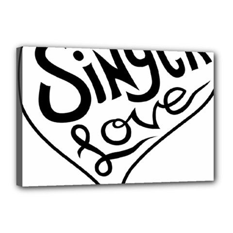 Singer Love Sign Heart Canvas 18  x 12
