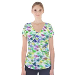 Paint on a white background              Short Sleeve Front Detail Top