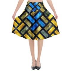 Metal Rectangles         Flared Midi Skirt