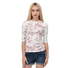 Floral Design Quarter Sleeve Tee