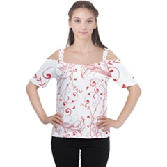 Floral Design Women s Cutout Shoulder Tee