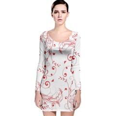 Floral design Long Sleeve Velvet Bodycon Dress
