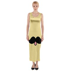 Mustache Fitted Maxi Dress