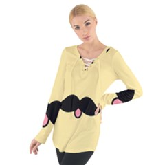 Mustache Women s Tie Up Tee