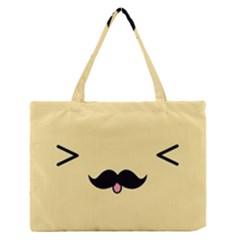 Mustache Medium Zipper Tote Bag