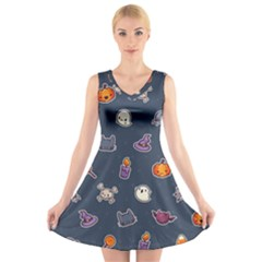 Kawaiieen Pattern V Neck Sleeveless Skater Dress