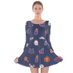 Kawaiieen Pattern Long Sleeve Velvet Skater Dress