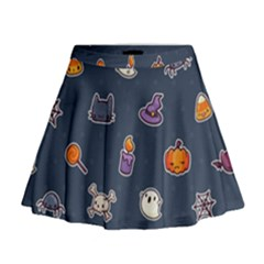 Kawaiieen Pattern Mini Flare Skirt