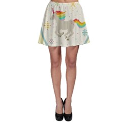 Unicorn Pattern Skater Skirt