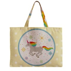 Unicorn Pattern Zipper Mini Tote Bag