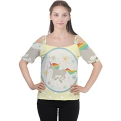 Unicorn Pattern Women s Cutout Shoulder Tee