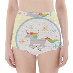 Unicorn Pattern High Waisted Bikini Bottoms