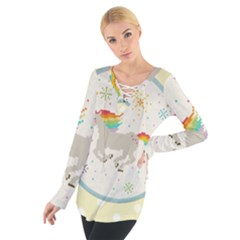 Unicorn Pattern Women s Tie Up Tee