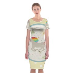 Unicorn Pattern Classic Short Sleeve Midi Dress