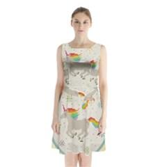 Unicorn Pattern Sleeveless Waist Tie Chiffon Dress
