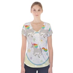 Unicorn Pattern Short Sleeve Front Detail Top