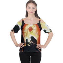 Beauty And The Beast Women s Cutout Shoulder Tee