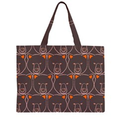Bears Pattern Zipper Large Tote Bag