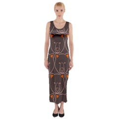 Bears Pattern Fitted Maxi Dress