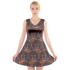 Bears Pattern V Neck Sleeveless Skater Dress
