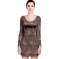 Bears Pattern Long Sleeve Velvet Bodycon Dress