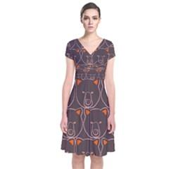 Bears Pattern Short Sleeve Front Wrap Dress