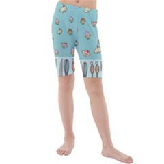 Kawaii Kitchen Border Kids  Mid Length Swim Shorts