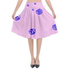 Star Space Balloon Moon Blue Pink Circle Round Polkadot Flared Midi Skirt