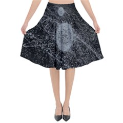 Space X Circle Line Black Flared Midi Skirt