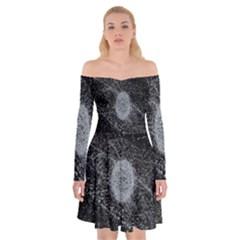Space X Circle Line Black Off Shoulder Skater Dress