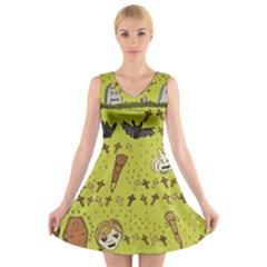 Horror Vampire Kawaii V Neck Sleeveless Skater Dress
