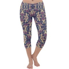 Multicolored Modern Geometric Pattern Capri Yoga Leggings